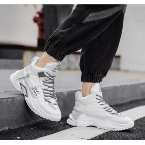 Высокие спортивные ботинки-кроссовки с мехом мужские белые