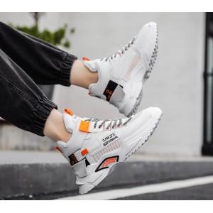 Высокие спортивные ботинки-кроссовки с мехом мужские белый+оранжевый