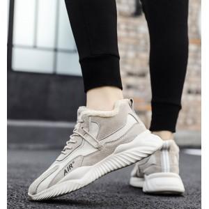 Зимові кросівки під замшу з хутром бежевий