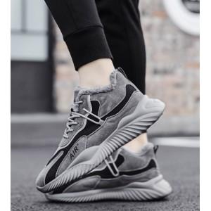 Зимові кросівки під замшу з хутром сірий з чорним