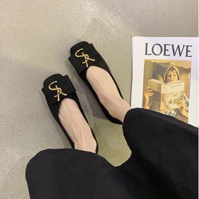 Черные балетки однотонные с квадратным носком
