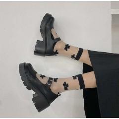 Ретро туфли черные на низкой грубой подошве