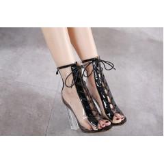 Высокие прозрачные босоножки на шнуровке черные