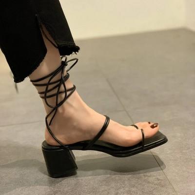 Черные босоножки римские на небольшом каблуке