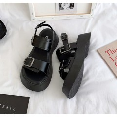 Черные сандалии ретро с двумя ремешками