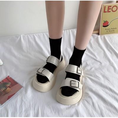 Белые сандалии ретро с двумя ремешками