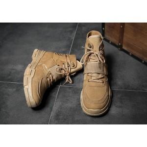 Чоловічі коричневі черевики на липучці