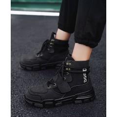 Мужские черные ботинки на липучке