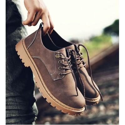 Низкие мужские ботинки коричневые