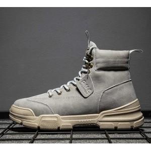 Высокие ботинки для парней серого цвета