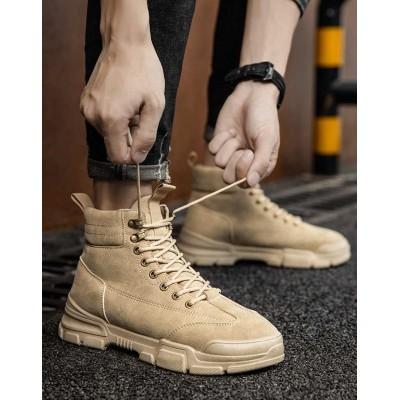 Высокие ботинки для парней бежевого цвета