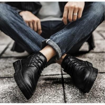 Классические черные ботинки туфли мужские