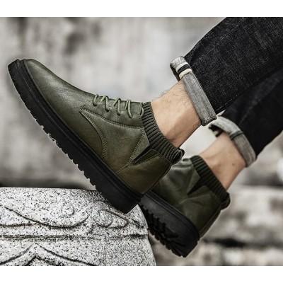 Классические  ботинки туфли мужские цвета хаки