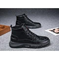 Черные высокие ботинки из прессованной кожи