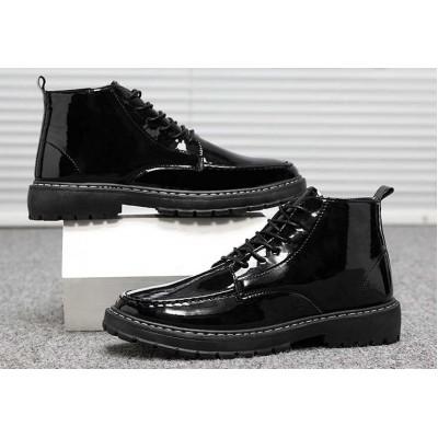 Лаковые черные мужские ботинки