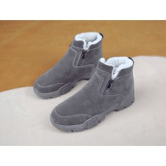 Теплые серые ботинки с мехом на высокой подошве