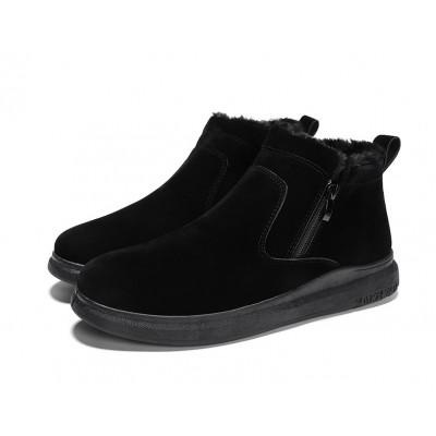 Зимние высокие мужские чисто черные ботинки