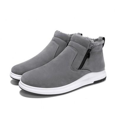 Зимние высокие мужские серые ботинки