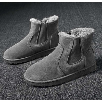 Замшевые ботинки угги серые