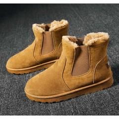 Замшевые ботинки угги коричневые