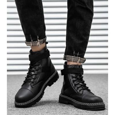 Мужские ботинки черные с ремешками