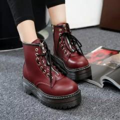 Ботинки на масивной подошве и с молниею - бордовые
