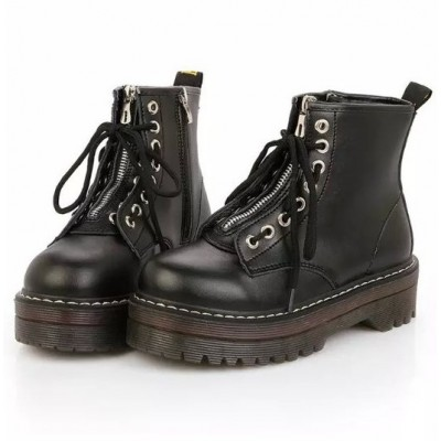 Ботинки на масивной подошве и с молниею - черные