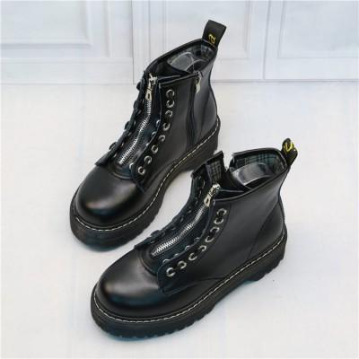 Женские массивные черные ботинки с молниями