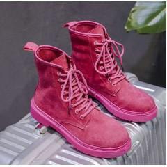Высокие женские ботинки на шнуровке розовые