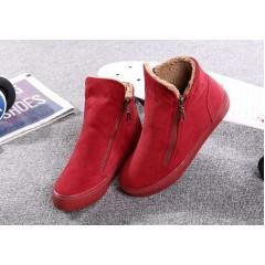 Красные высокие кроссовки с молниям женские