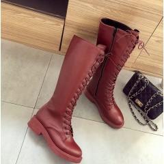 Высокие бордовые панк сапоги со шнуровкой