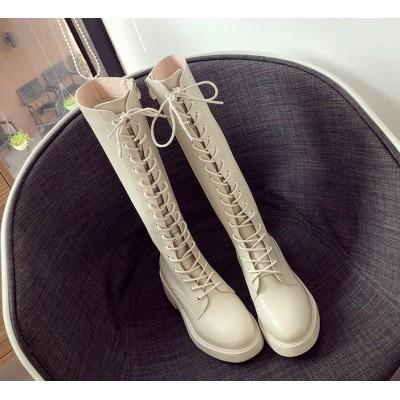 Высокие белые панк сапоги со шнуровкой