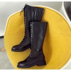 Высокие черные панк сапоги со шнуровкой