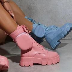 Розовые высокие женские ботинки с мини карманом