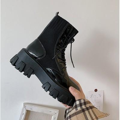 Лаковые женские ботинки высокие с резинкой