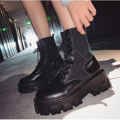 Женские черные высокие ботинки с резинкой