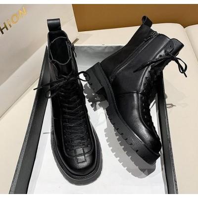 Высокие ботинки женские черные на шнуровке
