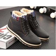 Мужские теплые черные ботинки с мехом