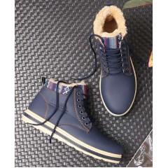 Мужские теплые синие ботинки с мехом