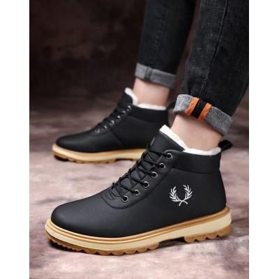 Теплые черные мужские ботинки с мехом и логотипом