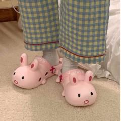 Тапки кроксы в виде розового зайца