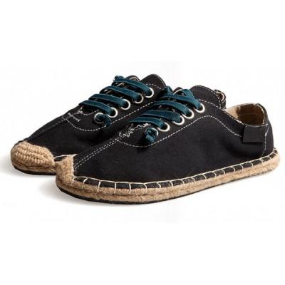 Летние черные эспадрильи на шнуровке