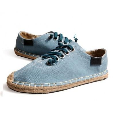 Летние синие эспадрильи на шнуровке