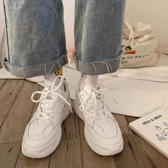 Чисто белые женские кроссовки из прессованной кожи