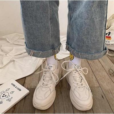 Бежевые женские кроссовки из прессованной кожи
