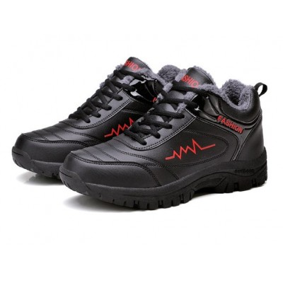 Меховые мужские черные кроссовки