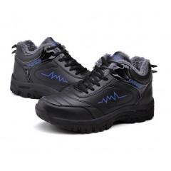 Меховые мужские кроссовки черные+синий