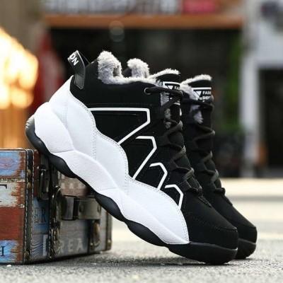 Теплые черные кроссовки мужские на белой подошве