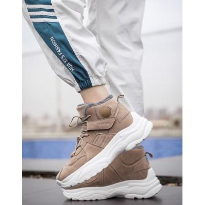 Стильные мужские коричневые высокие кроссовки с мехом
