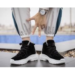 Стильные мужские черные высокие кроссовки с мехом
